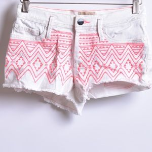 Roxy Tribal Design Cutoff Denim Shorts, Sz 25